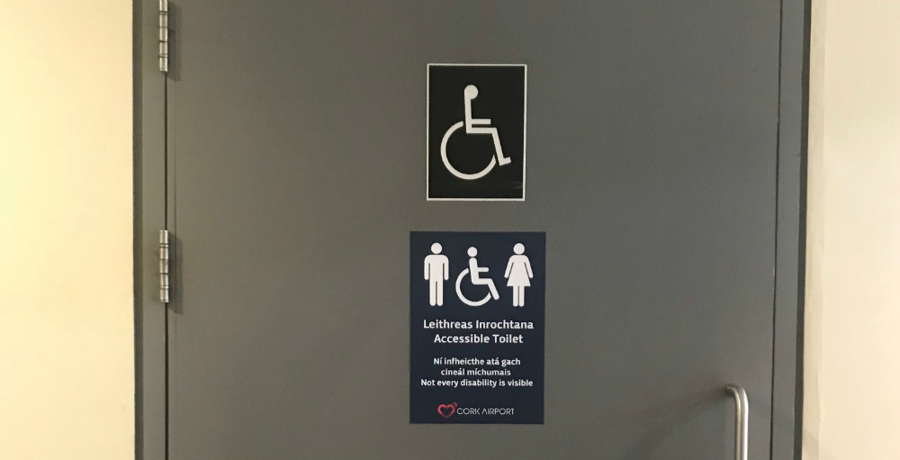 Cork Airport is the first major travel hub in Ireland to adopt new signage for accessible toilets